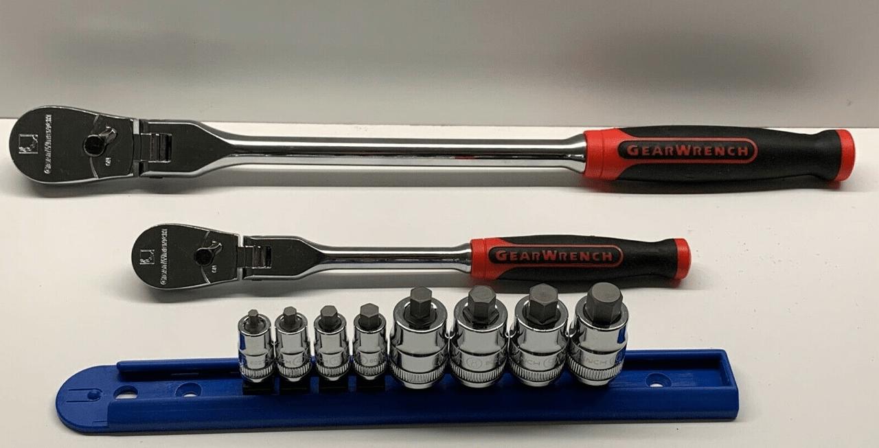 GearWrench Fein-Ratsche + 8x Nüsse 1/4