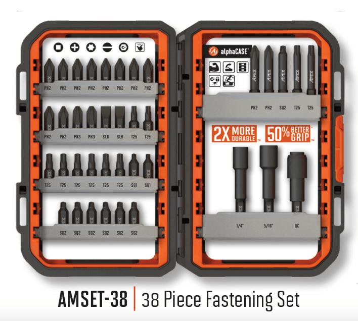 APEX AMSET-38 Bitbox 38teil. Profi-Bitsatz Bitset Industrie Qualität